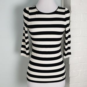 WHBM striped scoop back tee